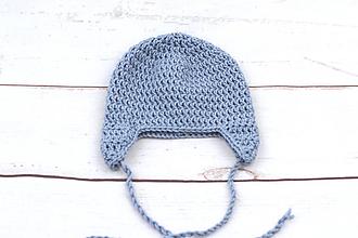 Detské čiapky - Modrá ušianka EXTRA FINE - 11379498_