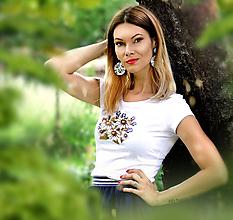 Tričká - Daisy tričko + náušnice - SKLADOM - 11380242_
