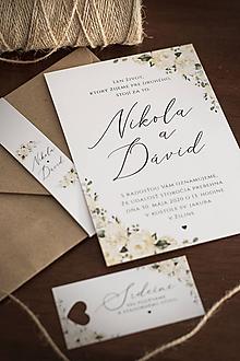 Papiernictvo - Svadobné oznámenie s jemnými bielymi kvetmi ❤ - 11380563_