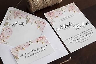 Papiernictvo - Svadobné oznámenie s ružovo-bielymi ružami ❤ - 11380681_