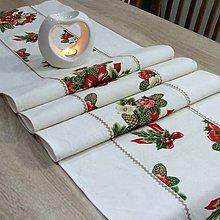 Úžitkový textil - NIKOLETA - Šišky a mašle na smotanovej - stredový behúň - 11378464_
