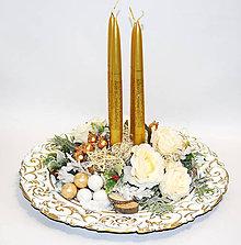 Dekorácie - Adventný svietnik - tanier - 11379165_