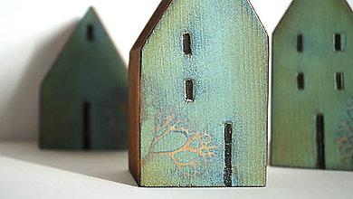 Dekorácie - Drevené domčeky zelené - 11378663_