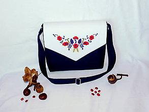 Kabelky - Ručne vyšívaná ľanová kabelka - 11379794_
