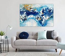 Obrazy - Aqua, 150x100, abstraktné obrazy, abstraktný obraz - 11380547_