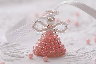 Dekorácie - Ružovo-biely anjel - 11379630_