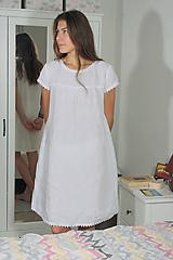 Pyžamy a župany - Ľanová nočná košieľka - 11383700_