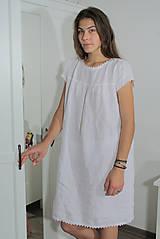 Pyžamy a župany - Ľanová nočná košieľka - 11383704_