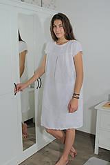 Pyžamy a župany - Ľanová nočná košieľka - 11383714_
