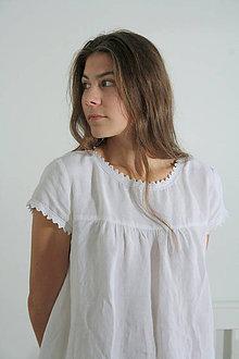 Pyžamy a župany - Ľanová nočná košieľka - 11383703_