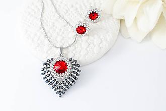Sady šperkov - sada šperkov SRDCE (red,hematit - Ag 925) - 11385089_