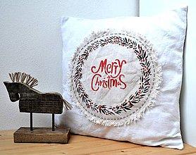 Úžitkový textil - Vianočný vankúš-ľanový s venčekom - 11383047_