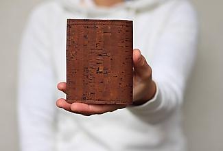Tašky - Korková peňaženka unisex hnedá - 11384168_