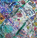 Šatky - Fantasy world- hodvábna maľovaná šatka - 11382775_