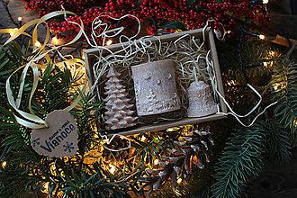 Svietidlá a sviečky - Vianočná SADA sviečok V DARČEKOVOM BALENÍ (čokoládovo hnedá) - 11382560_