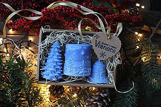 Svietidlá a sviečky - Vianočná SADA sviečok V DARČEKOVOM BALENÍ (Modrá) - 11382562_