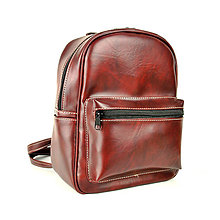 Batohy - Praktický kožený ruksak v bordovej tieňovanej farbe - 11383861_
