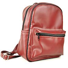 Batohy - Praktický kožený ruksak v tmavo červenej farbe - 11384056_