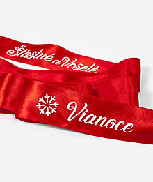 Dekorácie - Vianočná červená saténová stuha - 11384390_