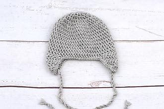 Detské čiapky - Béžová ušianka EXTRA FINE - 11383066_
