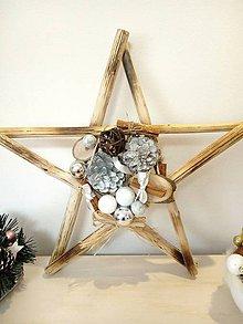 Dekorácie - Vianočná hviezda závesná strieborná natur - 11383119_