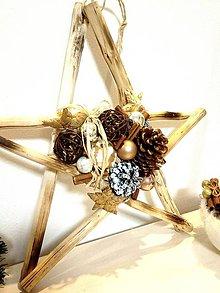 Dekorácie - Vianočná hviezda - závesná dekorácia - natur 40 cm - 11384171_