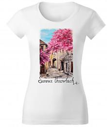 Tričká - Dámske tričko Francúzska ulička byAK - 11384694_