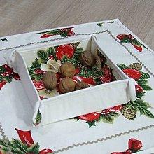 Úžitkový textil - NIKOLETA - Šišky a mašle na smotanovej - vianočný košíček - 11381943_