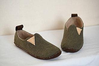Obuv - plstené papuče 24cm - khaki zelené - 11384844_