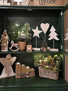 Dekorácie - Vianoce: stromcek hviezda srdce drevené - 11382547_