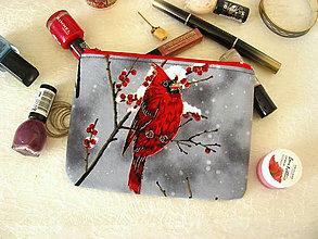 Taštičky - Taštička na mobil - kardinál v zimě - 11382027_