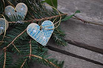 Dekorácie - Keramické srdiečko modré - 11383629_