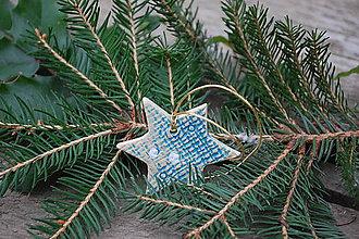 Dekorácie - Keramická hviezdička modrá - 11383644_