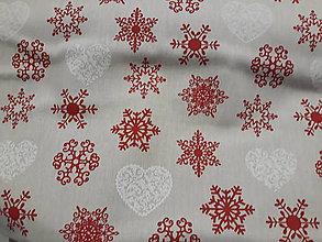 Textil - Vianoce červene a biele na režnej - 11383827_