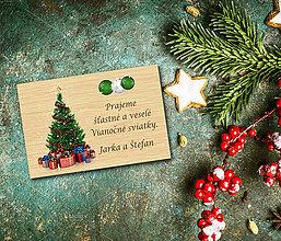 Magnetky - Vianočná drevená magnetka - 11387101_
