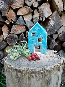 Svietidlá a sviečky - Keramický domček- svietnik- modrý - 11387006_