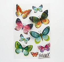 Papier - Samolepky - motýle s priestorovými krídlami - 11386042_
