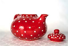 Nádoby - Červený čajníček - 11387331_