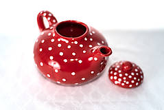 Nádoby - Červený čajníček - 11387332_