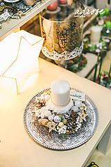 Dekorácie - Vianoce - svietnik - prírodný biely - 11387870_
