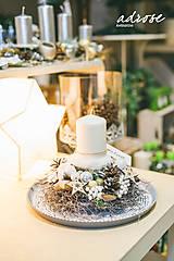 Dekorácie - Vianoce - svietnik - prírodný biely - 11387871_