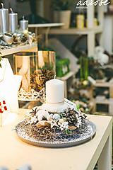 Dekorácie - Vianoce - svietnik - prírodný biely - 11387872_
