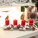 Dekorácie - Vianoce - adventný svietnik - červený - 11388126_