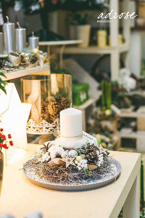 Vianoce - svietnik - prírodný biely