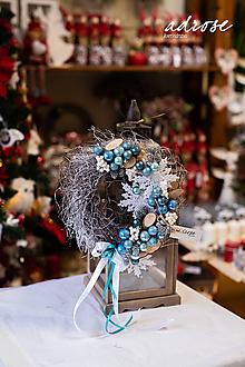 Dekorácie - Vianoce - veniec - modrý - 11387794_