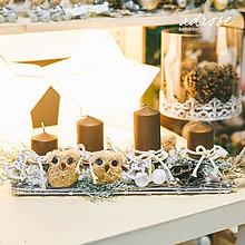 Dekorácie - Vianoce - adventný svietnik - hnedé sovy - 11387861_