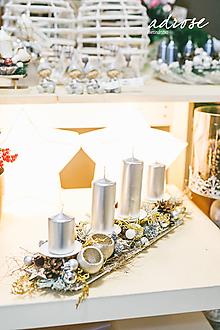 Dekorácie - Vianoce - adventný svietnik - striebornozlatý - 11387950_