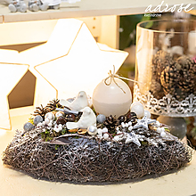 Dekorácie - Vianoce - aranžmán - vtáčiky - 11388129_