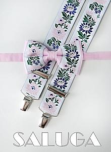Doplnky - Folklórny pánsky ružový motýlik a traky - folkový - ľudový - 11388028_