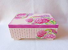 Krabičky - Drevená šperkovnica Hortenzie - 11387251_